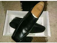 Clarks men's black leather shoes. Size 12 UK. New and boxed.