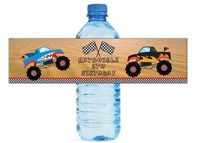 100 Monster Truck Water Bottle Labels Great for Birthday Par