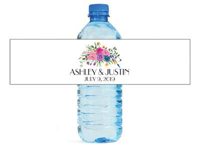 Pastel Roses Wedding Anniversary Bridal Shower Birthday Water Bottle Labels ()