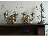 Laura Ashley Lavenham Gold Wall Lights and table Lamp