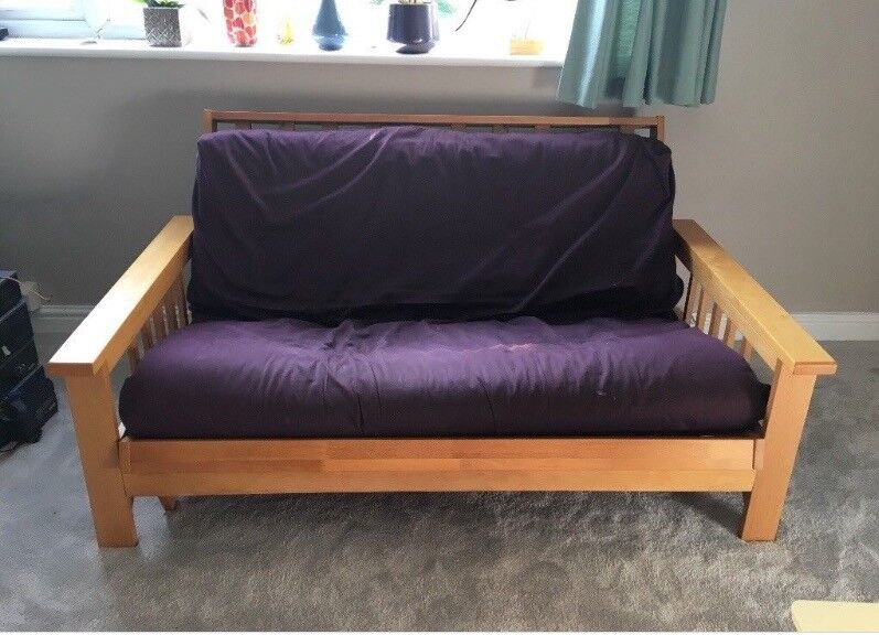 Solid Wood Futon Sofa Double Bed