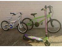 Bikes x 2 scooters x 2