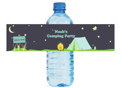 100 Camping Theme Custom Water Bottle Labels Great for Birthdays, Special events
