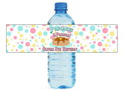 Pancakes and Pajamas theme water bottle labels Birthday party sleepover favors  ](Pj And Pancake Party)
