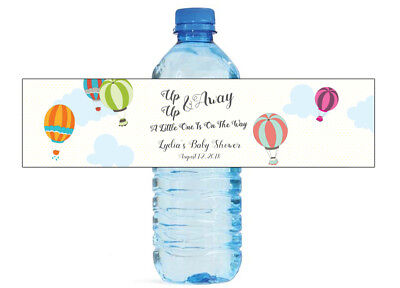 Up Up And Away Baby Shower (Up Up And Away Hot Air Balloon Water Bottle Labels Baby Shower)