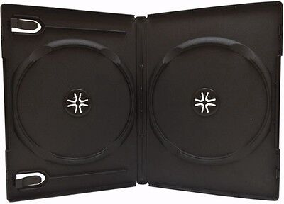 20 Standard 14mm Double Dvd Cases Black Holds 2 Disc Dvd Cases Wb