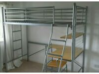 High sleeper cabin bed frame with desk & chair