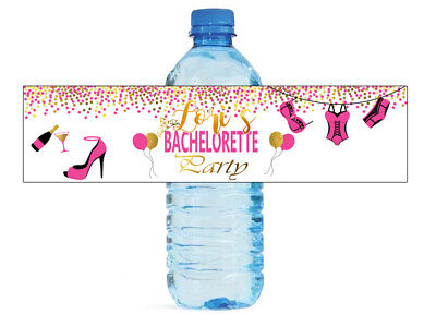 Night Water Bottles - 100 Bachelorette Party Pink & Gold Water Bottle Labels Great for Girls Night