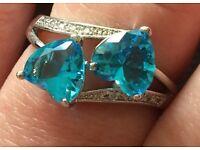 Genuine aquamarine gem and crystal