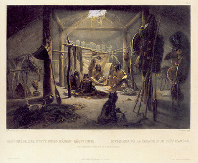 Interior of the Hut of a Chief 22x30 - Indian Chief Hut