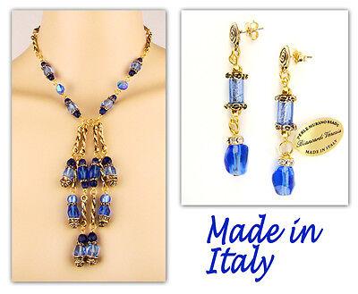 Authentic Italian Made Venetian Murano Glass Jewelry Set: Necklace & Earrings Italian Set Earrings