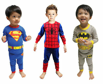Baby Boy Kid Pajamas Sets T-shirt Top Pants Superman Spiderman Batman - Baby Boy Batman Costume