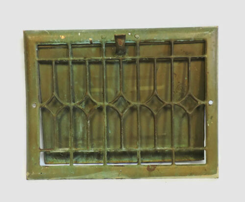 "ANTIQUE METAL HEATING GRATE REGISTER VENT WALL ORNATE 13.75 X 10.75"" b"