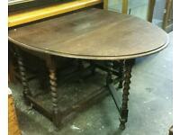 Vintage solid oak gateleg table with barley twist legs