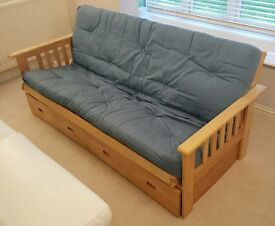 Wood double sofa bed