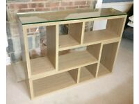 Oak Effect Multi way 2 L shape Box Shelves with Glass panel (Shelving Media Unit)