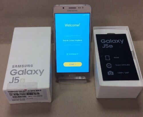 Samsung Galaxy J5 6. In Gold, Boxed, 16GB, On O2 Network 16GB