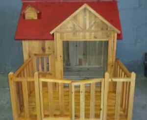 All wood, beautiful red dog house, or kennel, cage. clearance!!