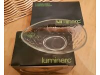 Avocado Dishes - Set of Eight Luminarc Patterned Glass - Unused, Boxed