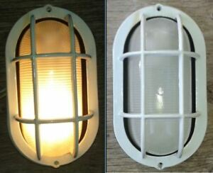 Outdoor light fixture, caged, wall mount, nautical look