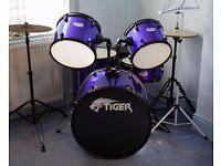 Full size Tiger drum kit.