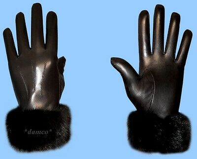 NEW MENS size 9 MINK FUR TRIM BLACK KID LEATHER GLOVES with RABBIT FUR LINING