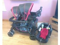 Graco ready2grow double buggy, car seat and seat base