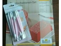 Cake stencil set and modeling tools