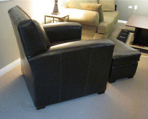 Erin Leather Club Chair with matching leather ottoman