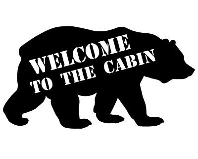 Welcome to the Cabin Bear  - Cabin Decor Wood Wall Art - Sign for sale  Shipping to United Kingdom