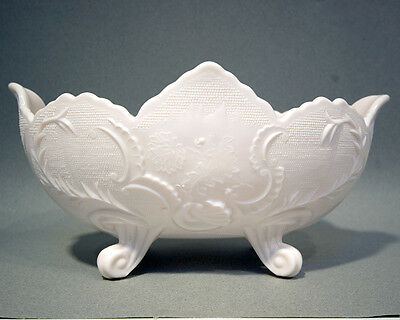 Shell Pink Milk Glass Footed Bowl in the Holiday pattern by Jeanette Glass