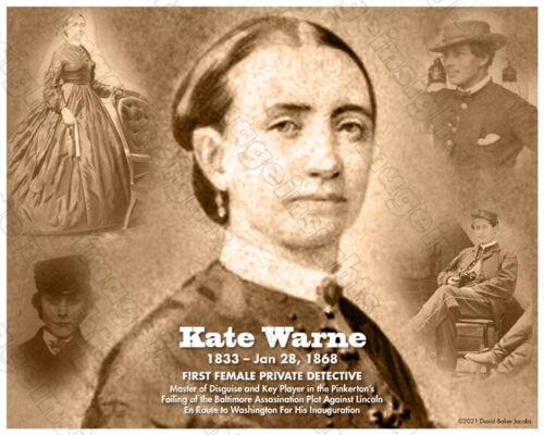 KATE WARNE 1st Woman Pvt Detective CIVIL WAR SPY 8x10 Print/Tribute