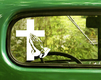 2 PRAYING CROSS AND HANDS  DECALs Religion Stickers For Car Window Bumper (Hand Rv Window)