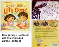 AVAILABLE! Dora & Diego Cookbook + 2 Child-Sized Aprons!