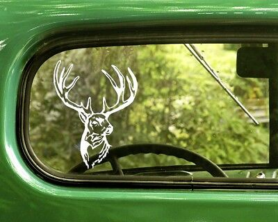 2 WHITETAIL BUCK DECAL Deer Antler Stickers For Car Window Truck Bumper Laptop (Deer Antlers For Cars)