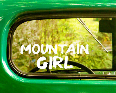 - 2 MOUNTAIN GIRL DECAL Stickers For Car Window Bumper Laptop Truck Rv Jeep