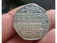 Rare Benjamin Britten 50P Coin
