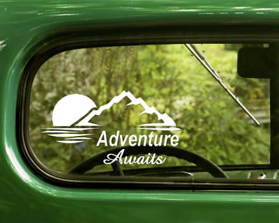 2 ADVENTURE AWAITS DECALs Sticker Nature For Car Window Bumper Laptop RV
