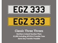 EGZ 333 – Price Includes DVLA Fees – Others Available - Cherished Personal Registration Number Plate