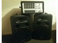 X2 450w skytec speakers with Phonic amplifier powered mix model power pod 615