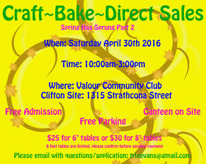 WEST END CRAFT/BAKE/DIRECT SALES: Saturday April 30 10-3