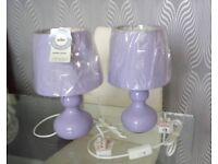 2x Lilac Bedside Lamps BNWT