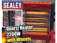 SEALEY IRH2200W QUARTZ HEATER 2200W ELECTRIC FOUR QUARTZ INFRARED ELEMENTS