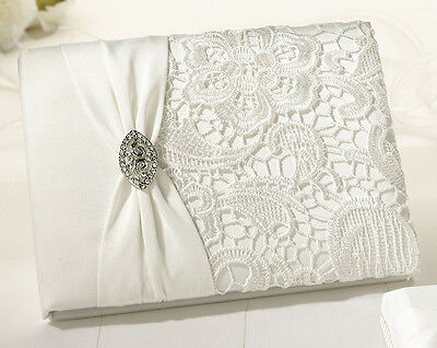Lillian Rose Cream Lace Off White Guest Book And Pen Set ...