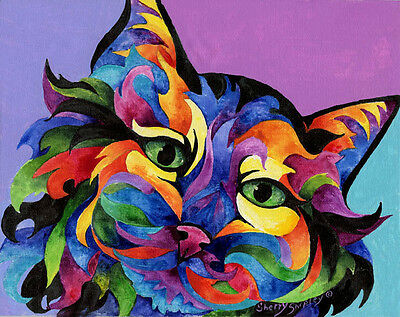 MARDI GRAS CAT 8X10  Print from Artist Sherry Shipley