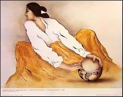 """R C Gorman Poster""""Pottery Keeper"""" Vintage GALLERY Poster FREE SHIPPING"""