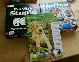 'I'm with stupid' , 'App-Player' board games and Reeves painting by numbers