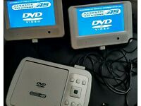 Twin screen car dvd complete with chargers and manual complete in bag