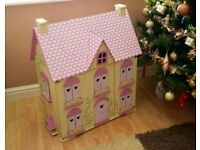 ROSEBUD DOLLS HOUSE WITH 5 SETS OF FURNITURE, A FAMILY OF 6 AND A SYLVANIAN FAMILY OF 4