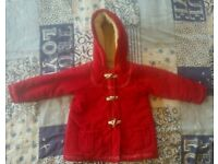 Mothercare Red Duffle Coat aged 18-24months